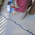 Concrete Slab Crack Repair: How to repair a badly cracked concrete patio slab with Emecole 555 for a permanent structural bond. Concrete Porch, Concrete Driveways, Concrete Slab, Stained Concrete, Concrete Caulk, Concrete Refinishing, Concrete Cover, Painted Concrete Floors, Home Renovation