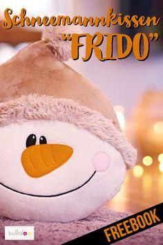 """Wie wär's mal mit Schneemann nähen als Weihnachtskissen? Schnittmuster Schneemann """"FRIDO"""" kannst du dir als NewsletterabonnentIn kostenlos runterladen!#freebook #kullaloo #weihnachten #schneemann"""