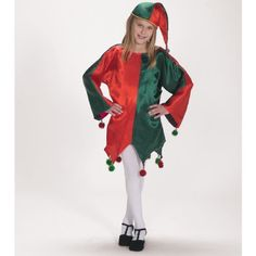 Satin Jingle Elf Child Costume >>> You can get more details by clicking on the image.
