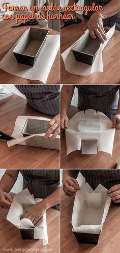 Cómo forrar los moldes rectangulares de cake para hacer un bizcocho. Una idea de @marialunarillos #reposteria #pasteleria #trucos