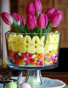 Floral centerpiece - tulips, peeps & jelly bean vase