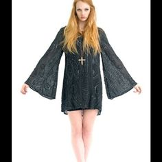 Shakuhachi Heavy Metal Bell Sleeve Dress LBD Mini dress, with sequins and beads, never worn with tags, black chiffon silk with liner (jersey rayon). All beads and sequins are secure. Shakuhachi Dresses Mini