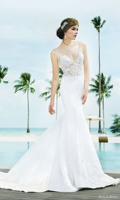 rico a mona bridal resort 2015 sleeveless sheath sexy wedding dress with illusion strap zoom