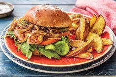 Haloumi Pesto Burger with Wedges Recipe | HelloFresh