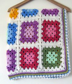 Was £45 now £36  In stock ready to ship.  A gorgeous vibrant granny square blanket afghan in bright paintbox palette colours. Greens, pinks,