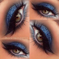 Electric blue eye makeup - stunning.