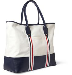 Thom BrowneLeather and Canvas Tote Bag