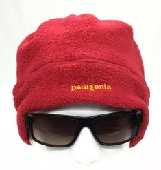 VTG 90s PATAGONIA Adult L Red Fleece Winter Beanie Ski Hat Cap - Made in USA 9559a27a1444