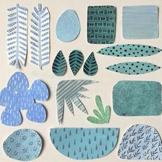 Collage experiments with blues and greens / Sandra Apperloo