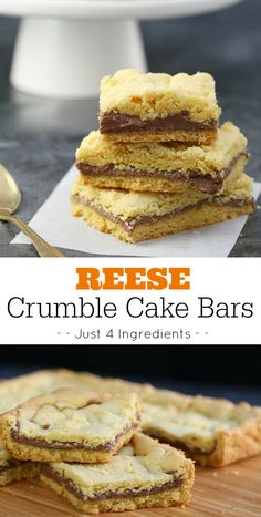 An easy Reese Crumble Cake Bars recipe using a box of cake mix and REEESE Spreads - an out of this world dessert recipe!