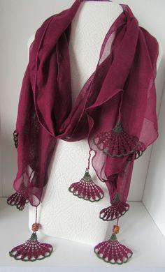 "SPRİNG SCARF, cotton purple scarf, Turkish scarf, Oya, crochet flower scarf, floral scarf ""Inspiration for scarf tassels"""