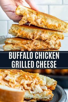 Buffalo Chicken Grilled Cheese Recipe - Sandwich and Wrap Recipes - This Buffalo Chicken Grilled Cheese Sandwich is the best easy dinner or lunch recipe. Ready in unde - Buffalo Chicken Grilled Cheese, Baked Chicken, Chicken Panini, Oven Chicken, Rotisserie Chicken, Healthy Chicken, Buffalo Chicken Sandwiches, Grilled Chicken Sandwiches, Boneless Chicken