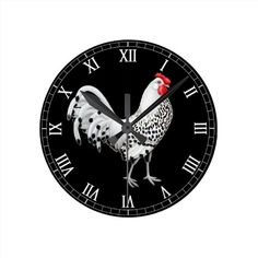 Silver Spangled Hamburg Rooster Wall Clock  #chickens   #clocks