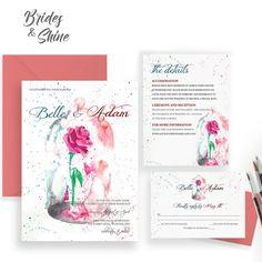 Printable Wedding Invitation Suite / Wedding by BridesandShine Disney Wedding Invitations, Watercolor Wedding Invitations, Wedding Invitation Design, Invitation Suite, Invitation Cards, Invite, Enchanted Rose, Watercolor Artwork, Perfect Wedding