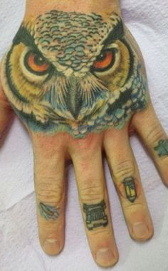 Hand tattoo: owl done by kimi leger