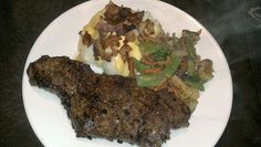 grilled steak and loaded mash potatoes
