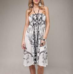 Strapless Smocked Dress - white black
