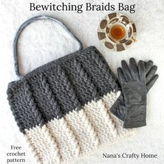 The Bewitching Braids Bag is a Free Crochet Pattern at Nana's Crafty Home! Large tote bag perfect as a work in progress bag or just to carry all the things! Simple and easy textured bag with a super easy pattern -- perfect for the beginner! Crochet Handbags, Crochet Purses, Crochet Hooks, Free Crochet, Crochet Bags, Crochet Baskets, Wire Baskets, Crochet Scarves, Simple Bags