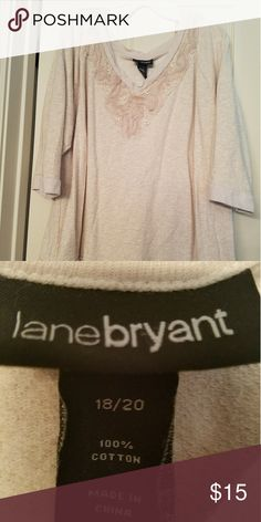 Lane Bryant Beige Cotton top with embellishments Beige 100% cotton top with embellishments around the front collar of the shirt. Soft v-neck. Very pretty top.  LaneBryant 18/20 Lane Bryant Tops Blouses