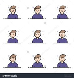 Vector illustration of colored icons in flat line style. Linear cute and happy mans. Graphic design concept of Emoji and Avatar. Use in Web Project and Applications Outline isolated object.