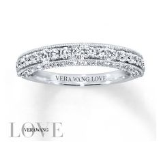 Vera Wang LOVE Wedding Band 3/4 ct tw Diamonds 14K White Gold ❤ liked on Polyvore featuring jewelry, rings, diamond band ring, round engagement rings, wedding rings, white gold rings and 14k white gold ring