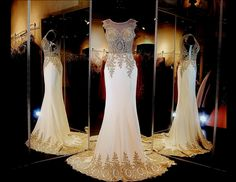 Ivory/gold formfittng Mermaid Pageant or Prom Gown with Gorgeous Embroidered Illusion Bodice and Sweeping Train