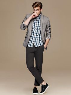 Tailored Slim-Fit Soft-Wash Bold Gingham Shirt - Banana Republic  Another one for Henry!