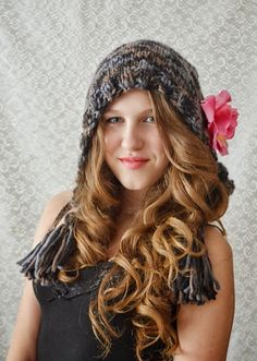 Hand knitted hat Autumn  Rose by irinacarmen on Etsy, $46.00