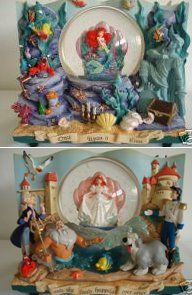 Disney Ariel before/after snowglobe