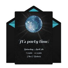 Customizable, free Disco Ball online invitations. Easy to personalize and send for a party. #punchbowl
