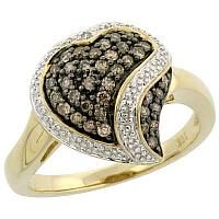 Chocolate diamond yellow gold heart shaped ring with white diamond accents.