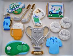 Oh Sugar Events: Golf Cookies Golf Cookies, Sugar Cookies, Cookie Designs, Cookie Ideas, 4th Birthday Parties, Cookie Decorating, Decorating Ideas, Cookie Cutters, Events