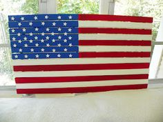 Hubby and I made the wooden flag - a Pottery Barn copy from another blogger