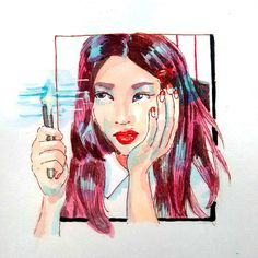 Signal. Limited palette. . . . . I was doubtful about this song initially but it is extremely catchy life is a lie. . . . . . #art #illustration #instaart #doodle #draw #watercolorart #sketch #kpopfanart #kpop #twice #anime  #twicefanart #nayeon #signal #hitsulatteso #illust #blvart #drawing #artistalley #myart