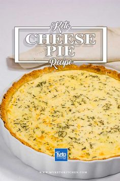 This keto cheese pie recipe is an excellent savory cheese dish that is low carb. It's a delicious blend of gruyere, ricotta and feta with a texture similar to a tart or quiche. The almond flour crust is the perfect gluten free base. Cheese Pie Recipe, Cheese Pies, Keto Cheese, Keto Quiche, Low Carb Keto, Low Carb Recipes, Cooking Recipes, Paleo Recipes, Soup Recipes