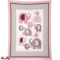 Little Bedding NoJo Elephant Time Modern 4 Piece Crib Bedding Set Baby Girl Pink