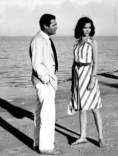. 'Lo straniero'. Regia di Luchino Visconti, Italia 1967. Interpreti Marcello Mastroianni e Anna Karina.