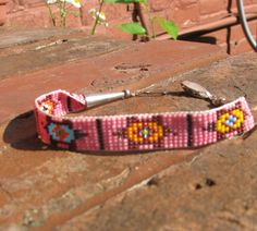Vintage Pink with Turtle Seed Beaded Woven Native American Bracelet on Etsy, $62.89 CAD