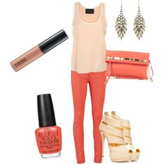 coral and cream, created by kac338 on Polyvore.. those shoes are awesome