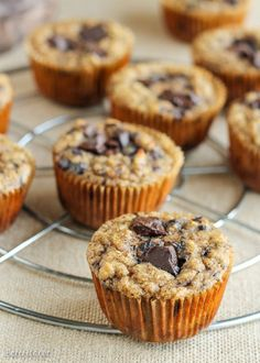 These Paleo Almond Butter Chocolate Chip Banana Muffins taste just like your mom's homemade banana chocolate chip muffins, except with an creamy almond butter filling. They're gluten-free, grain-free, and sugar-free - these muffins are sweetened with only bananas!