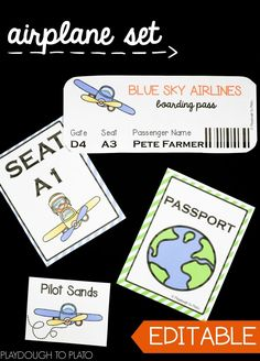 Editable Airplane Pretend Play Set These9pretend play setsare must-haves for adramaticplay center or community unit. Use the ready made activity sheetsor personalize them by typing in your kids' names. The 147 pages of pretend play printables give kids plenty of practice cooperating, communicating, reading, writing and doing math.Children will have so much fun playing that they won't even notice they're learning too! **Affiliate Link