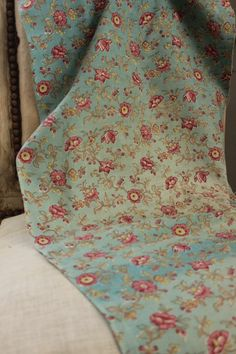 Vintage French blue printed floral fabric material c 1930 Timeworn FADED lovely