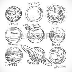 Doodle planets of the solar system isolated on white background