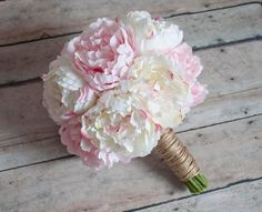 Ivory and Blush Pink Peony Wedding Bouquet - Rustic Peony Bouquet by Kate Said Yes Weddings