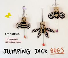 DIY Jumping Jack Bugs - super fun tutorial from misako mimoko!
