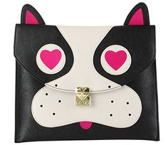 Betsey Johnson Pug, Black, Clutch Imported Magnetic flap-over Closure Features exterior pug face detail Interior wall zip pocket and 2 multi-functional slip pockets Fully lined floral print fabric lining x x (WxHxD) Black Clutch, Leather Clutch, Betsey Johnson Handbags, New Handbags, Clutch Handbags, Floral Print Fabric, Clutch Purse, Pugs, Sunglasses Case