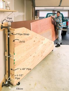 Swing-Out Plywood Storage - or storage or other large things ( ie folding tables, folding chairs, etc)