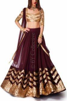 Coffee Lehenga with Ivory Dome Sequins Indian Wedding Gowns, Pakistani Bridal Dresses, Indian Dresses, Indian Outfits, Bridal Lehenga, Wedding Dresses, Half Saree Lehenga, Lehnga Dress, Anarkali
