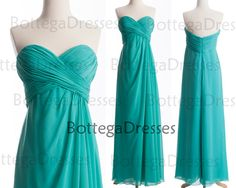 Strapless Chiffon Long Turquoise Bridesmaid Dresses, Turquoise Prom Dresses, Wedding Party Dresses, Prom Gown, Turquoise Chiffon Dresses