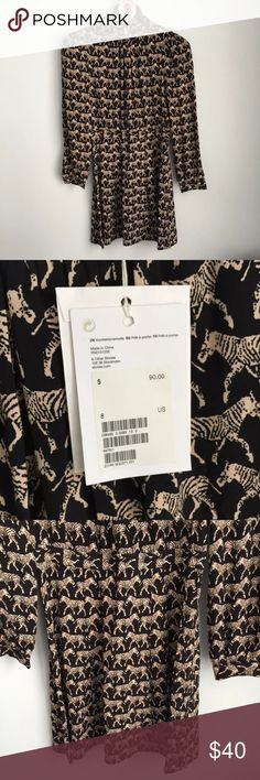 "& Other Stories Zebra Print Dress NEW Women's & Other Stories Zebra Print Dress Black Tan Zebra Print Long Sleeve Pleated High Neck Size 8 Measures 19"" across chest arm pit to arm pit laying flat Length is 37"" & Other Stories Dresses Mini"